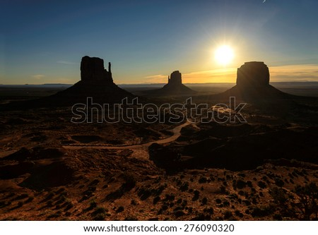 Sunrise over Monument Valley, Arizona, USA - stock photo