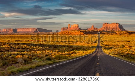 Sunrise over Monument Valley in Arizona, USA.