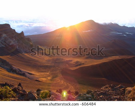Sunrise Over Mount Hale'akala - stock photo