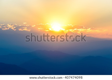 Sunrise over Nagarkot, Kathmandu valley - stock photo