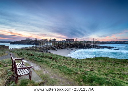 Sunrise over Newquay a popular holiday resort on the north Cornwall coast with Fistral beach on the right - stock photo