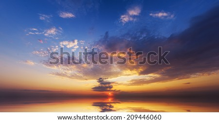sunrise over ocean. Nature composition.