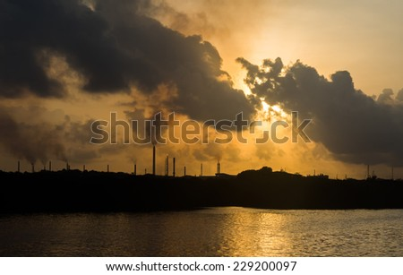 Sunrise over Piscadera  on Curacao a tropical island in the Caribbean