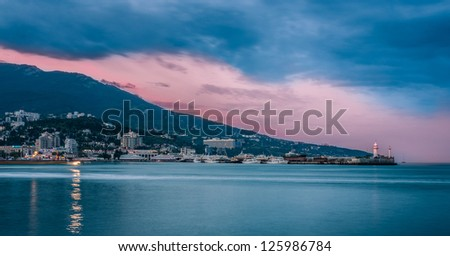 Sunrise over rocky black sea coastline. Black sea, Yalta, Ukraine