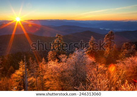 Sunrise over Smokies,with frost on trees. - stock photo