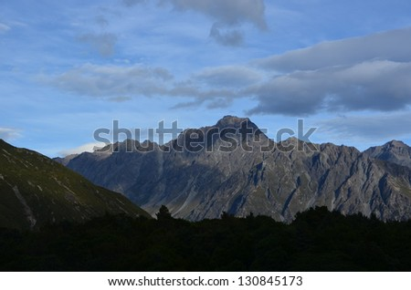 Sunrise over Snowy Mountains, New Zealand