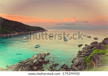 Sunrise over the Andaman Sea. Similan's island, Thailand - stock photo
