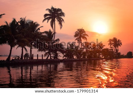 Sunrise over the backwaters in Kerala, India - stock photo