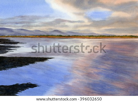 Sunrise over the Bay.  Watercolor painting showing pink clouds reflections in the water, bay, and sandbars in the bay along the coast.