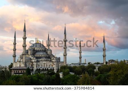 Sunrise over the Blue Mosque, Istanbul, Turkey - stock photo