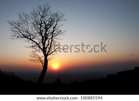 Sunrise over the Blue Ridge. - stock photo
