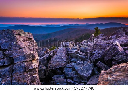 Sunrise over the Blue Ridge Mountains from Blackrock Summit, Shenandoah National Park, Virginia. - stock photo