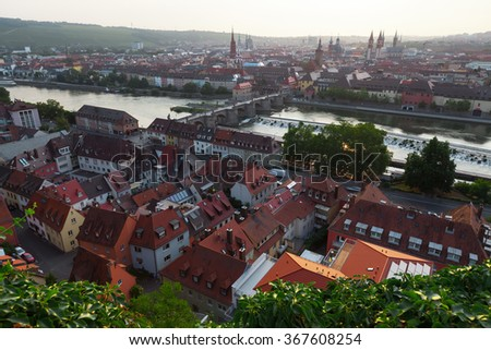 Sunrise over the city of Wurzburg, Germany - stock photo