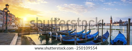 Sunrise over the Gran Canal, panoramic view, Venice, Italy - stock photo