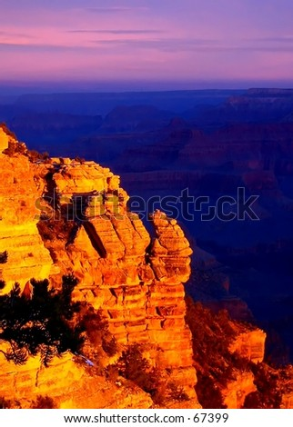 Sunrise over the Grand Canyon - stock photo