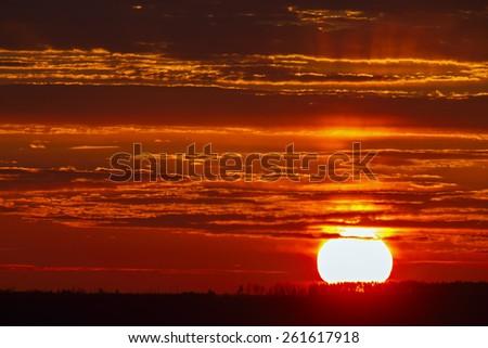 Sunrise over the horizon. - stock photo