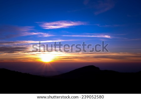 Sunrise over the mountains at Doi Inthanon Chiang Mai, Thailand