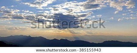 Sunrise over the mountains, Thailand