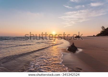 Sunrise over the ocean at Ponta do Auro, Mozambique - stock photo