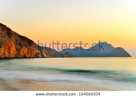 Sunrise over the Ocean in Oman - stock photo