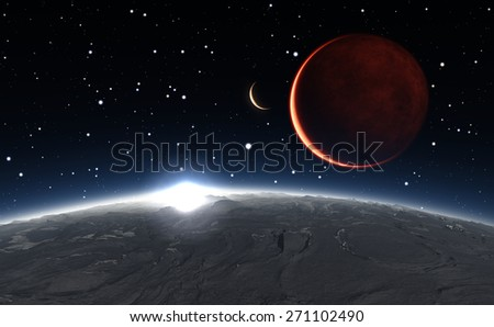Sunrise over the Phobos with red planet Mars in the background - stock photo