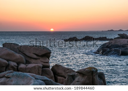 Sunrise over the pink granite coast, Ploumannach, Brittany, France