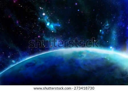 Sunrise over the planet as seen from space. Digital drawing. - stock photo