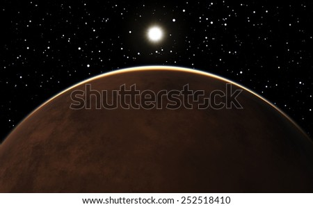 Sunrise over the planet Mars. - stock photo