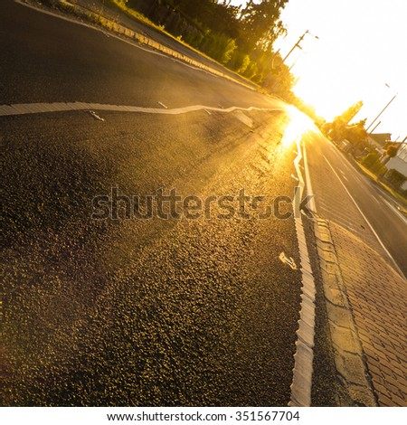 Sunrise over the road