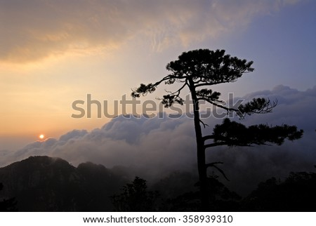 Sunrise over the Sea of Clouds, Yellow Mountains, Huangshan, Anhui, China - stock photo