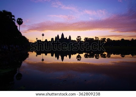 Sunrise over the temple of Angkor Wat in Siem Reap, Cambodia