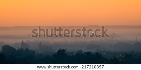 Sunrise over the vineyards of Saint-Emilion-Landscape