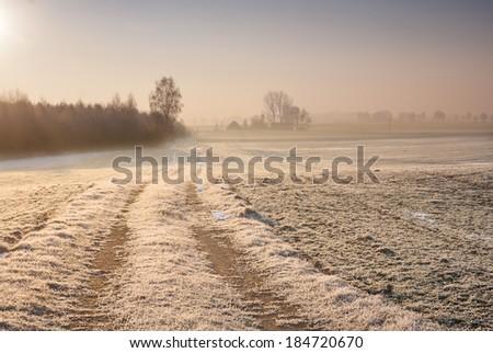 sunrise over winter field. rural landscape - stock photo