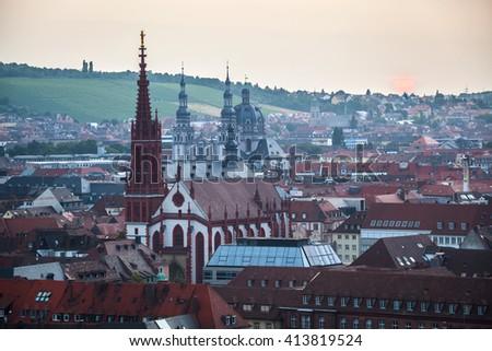 Sunrise over Wurzburg town. Germany - stock photo