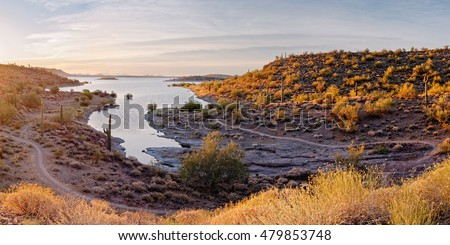 Sunrise Panorama of Lake Pleasant in Peoria Arizona