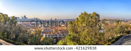 Sunrise panorama of Madrid with Royal Palace and  Almudena Cathedral - stock photo
