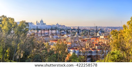 Sunrise panorama of Madrid with Royal Palace and  Almudena Cathedral. - stock photo