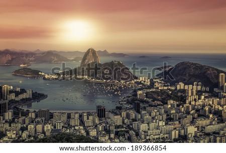 Sunrise panorama over Rio de Janeiro, Brazil - stock photo