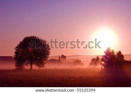 Sunrise. Picture of sunrise in summer rural. - stock photo