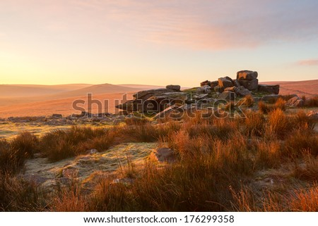 Sunrise Rowtor Dartmoor national park Devon Uk