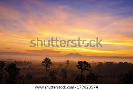 Sunrise, Sawanna in thailand - stock photo