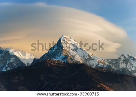 Sunrise scene of Annapurna range from Poon hill, Ghorepani, Nepal - stock photo