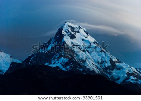 Sunrise scene of annapurna south, view from Poon hill, Nepal