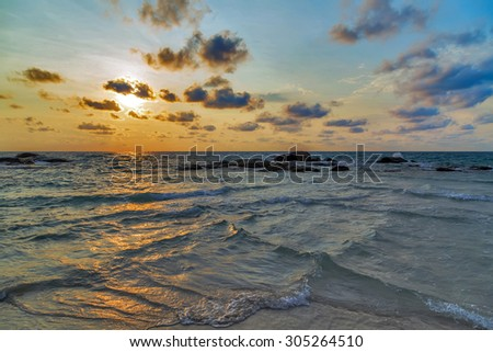 Sunrise sea beach summer nature landscape tropical vacation - stock photo