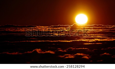 Sunrise seen from El Teide, Tenerife, Spain, Europe - stock photo