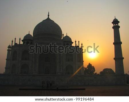 Sunrise silhouette of the Taj Mahal, Agra, India - stock photo