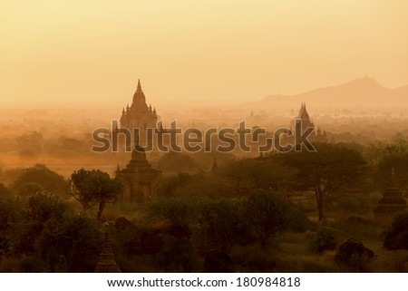 Sunrise silhouette of the temples of Bagan - Myanmar