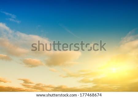 Sunrise sky background. Natural landscape - stock photo