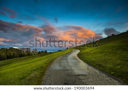 Sunrise sky in  Alpe di Suisi,Italy, South Tirol,