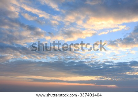 Sunrise sky view on top of mountain